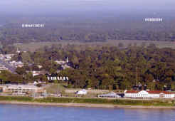 Aerial view of the waterfront at Vidalia with Ferriday in the background